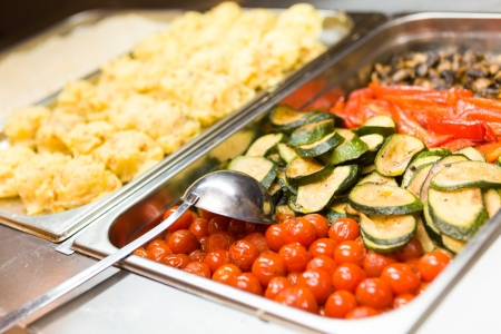 Tomatoes and cucumber as a snack on banquet