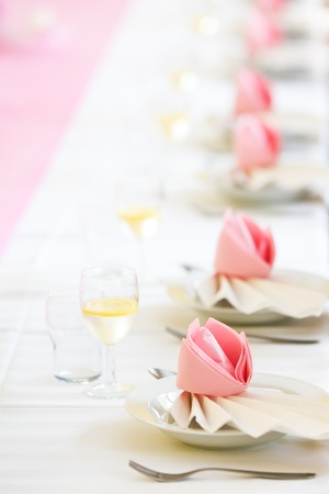 Conference or wedding dinner table ready for serving Stock Photo - 13713800