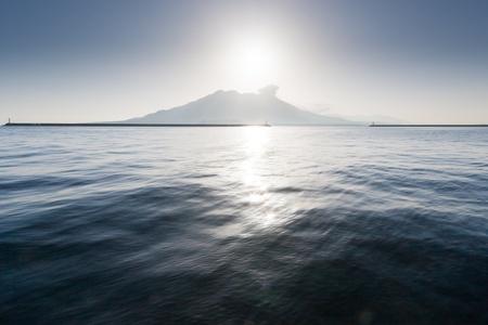 Landscape Sakurajima view from Kagoshima, Kyushu Stock Photo