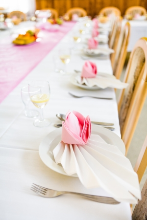 Formal table with napkins ready for meal serving, shallow dof photo