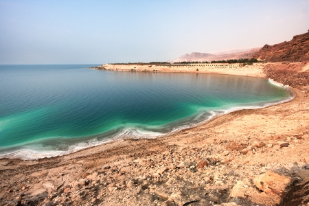 Overview of the white Dead Sea shore from Jordan side Stock Photo