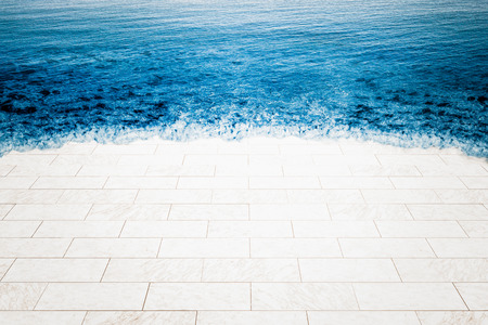 Marble floor being flooded by sea, climate change illustration