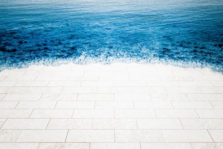 Pavimento in marmo inondata dal mare, il cambiamento climatico illustrazione