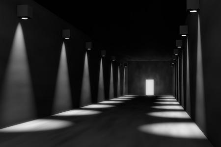 개체를 배치하는 극적인 조명, 방에 빈 복도의 3D 렌더링