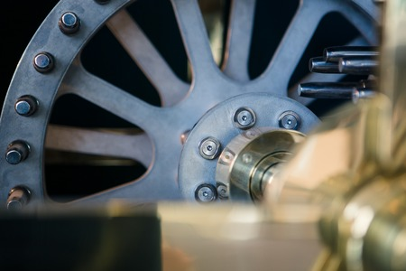 Large blue wheel, detail of clock internal parts photo