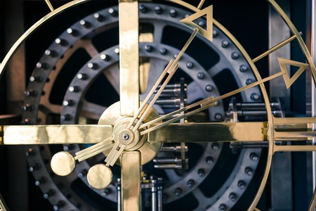 orthogonal: Gold and blue clock detail, orthogonal view