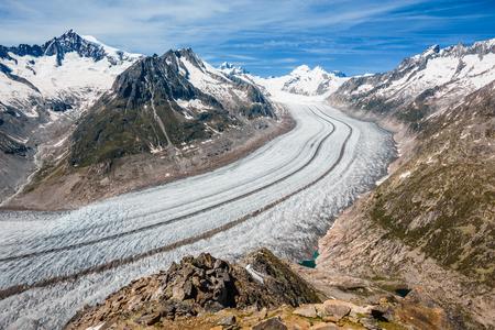 Parte del glaciar Aletsch, Jungraujoch en el fondo
