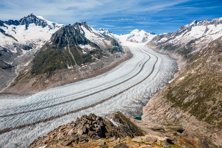 Part of the Aletsch glacier, Jungraujoch in background