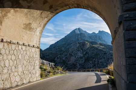 Bridge on the top of mountainous Coll dels Reis road, Mallorca, Balearic islands