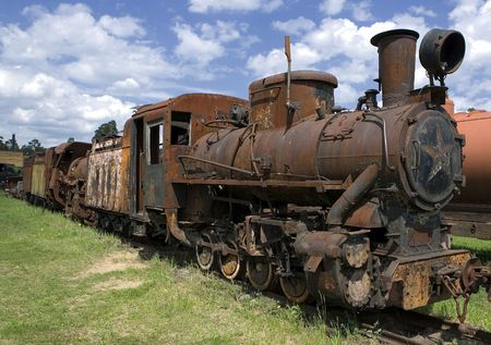 Old rusty steam locomotive in open air museum of Pereslavl, Russia photo
