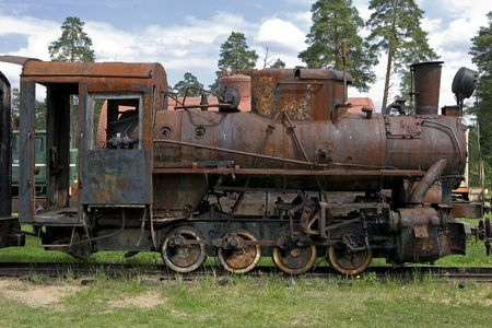 old steam train at a railway museum of Pereslavl, Russia Stock Photo - 3619625