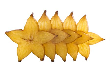 five stars of carambola, sliced on white background. Stock Photo - 4587584