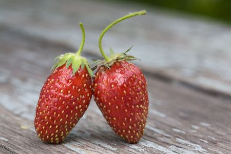 two strawberries standing on the wooden table photo