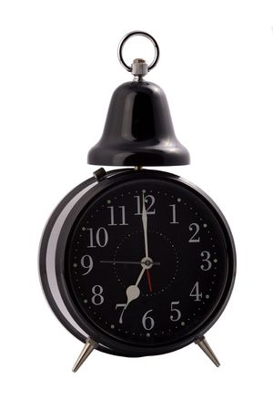 black alarm clock with a hand bell, isolated on a white background.