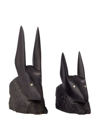 primitivism: two ancient african figurine of animals, made of ebony