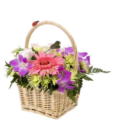 Bouquet von Blumen in den Korb, isoliert auf weiss.