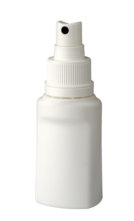 plastic spray  container for medicine, isolated on white background