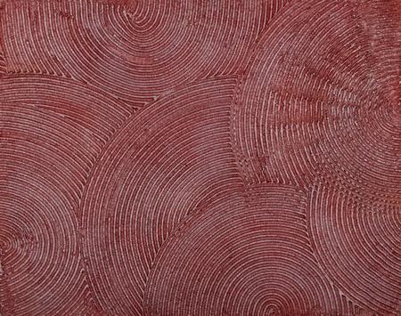 Wand Textur mit einer tief kreisf�rmige Klieschen des Kittes, bedeckt mit roter Farbe.