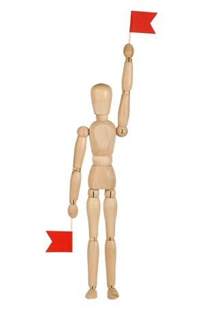 wooden toy man with red flags in their hands, the signalman photo