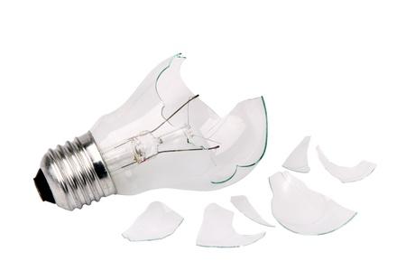 broken household light bulb isolated on a white background Imagens
