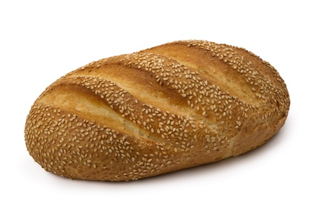 loaf of  fresh wheat  bread, isolated on white background. Imagens