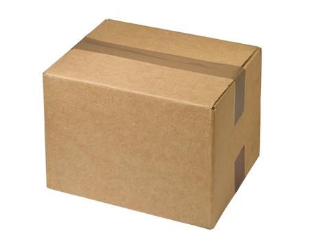 sealed  cardboard  box, isolated on white background
