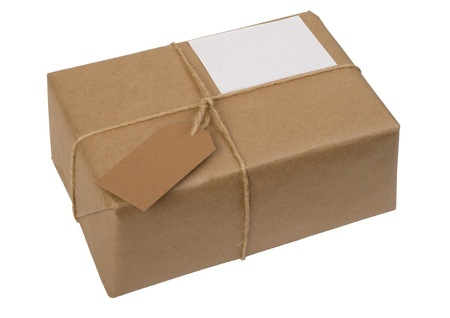 package: brown paper package tied with string with  label, isolated on white Stock Photo