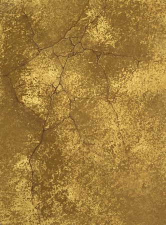 metallic grunge: texture of a cement wall covered metallic paint, with gold spots.