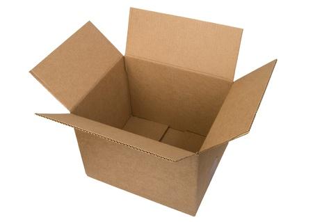 Open cardboard box on white background  Imagens