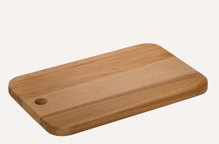 new  wooden cutting board  isolated on white background Imagens