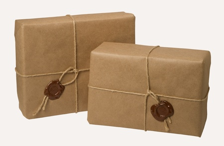 parcels: parcel with a rope and wax, isolated on white background