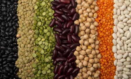 렌즈 콩: mixed dried beans paved strips, for a colorful background.