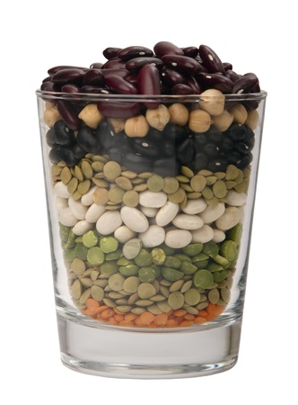different species of legumes in a glass Imagens