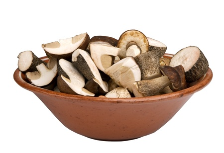 edulis:  edible mushrooms chopped in a bowl,  isolated on white background
