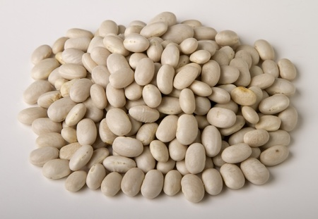 heap  of  white dried beans isolated  photo