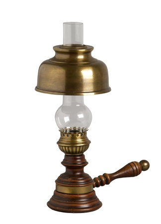 kerosene lamp: Antique oil lamp, isolated on white Stock Photo