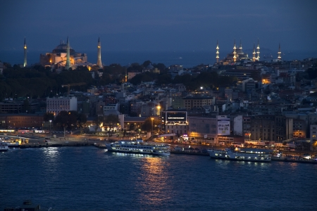 Night View on Istanbul Harbour With  Ships City and Mosques