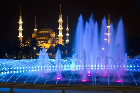 bosphorus: Colored Fountain and The Blue Mosque in Istanbul at Night