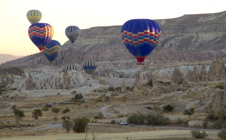 Hot Air Balloons over Valley in Cappadocia, Turkey
