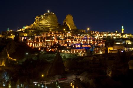 goreme: Night view on Uchisar cave town, Cappadocia Turkey