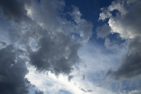 Fantastic soft white clouds against blue sky  Stock Photo