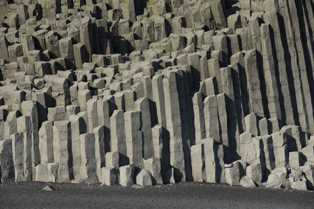 basalt: Reynisfjara Beach Volcanic Basalt Coloumn Formations, in southern Iceland Stock Photo