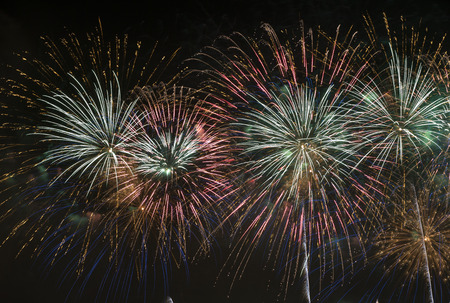 entertainment event: Brightly Colorful Fireworks in the Night Sky