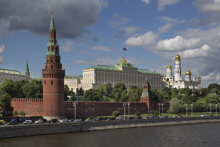 building exteriors: View on Moscow Kremlin, president palace and complex of churches