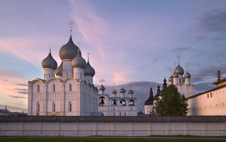 Rostov the Great, Russia. View on old Kremlin on against sunset sky.