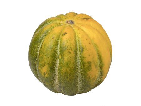 Whole ripe fresh melon isolated on white background. Sweet tropical fruit. Imagens