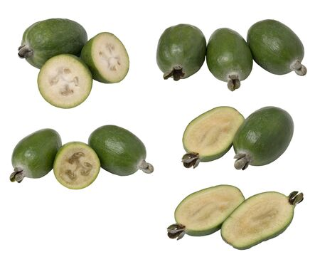 Set tropical fruit feijoa whole and cut in half, isolated on white background.