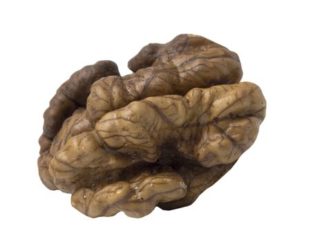 Walnut isolated. Nut kernel on white background. Close up view.