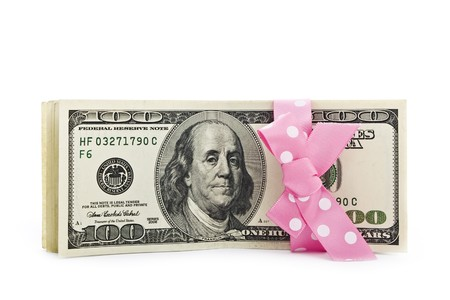 100-dollar bills stack strapped with a beautiful ribbon Stock Photo - 7943633