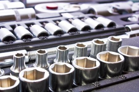 herramientas de mec�nica: Kit de herramientas met�licas como fondo